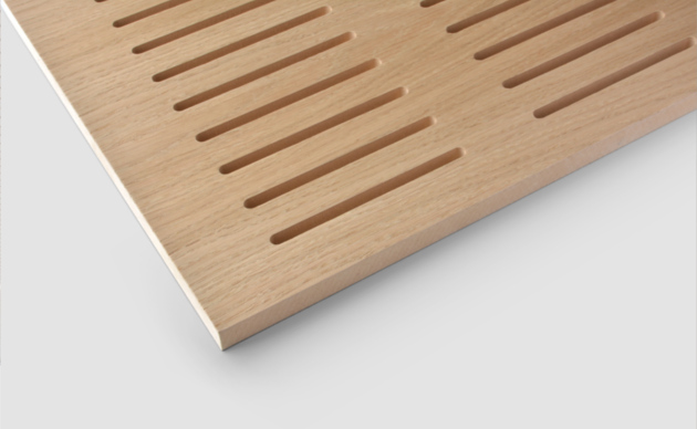 Slotted timber acoustic panels