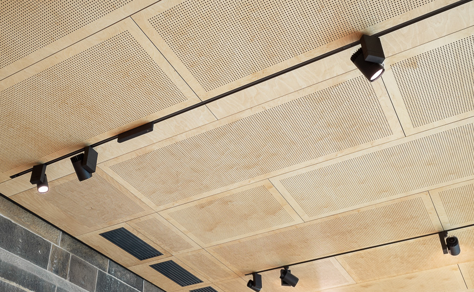 perforated timber ceiling