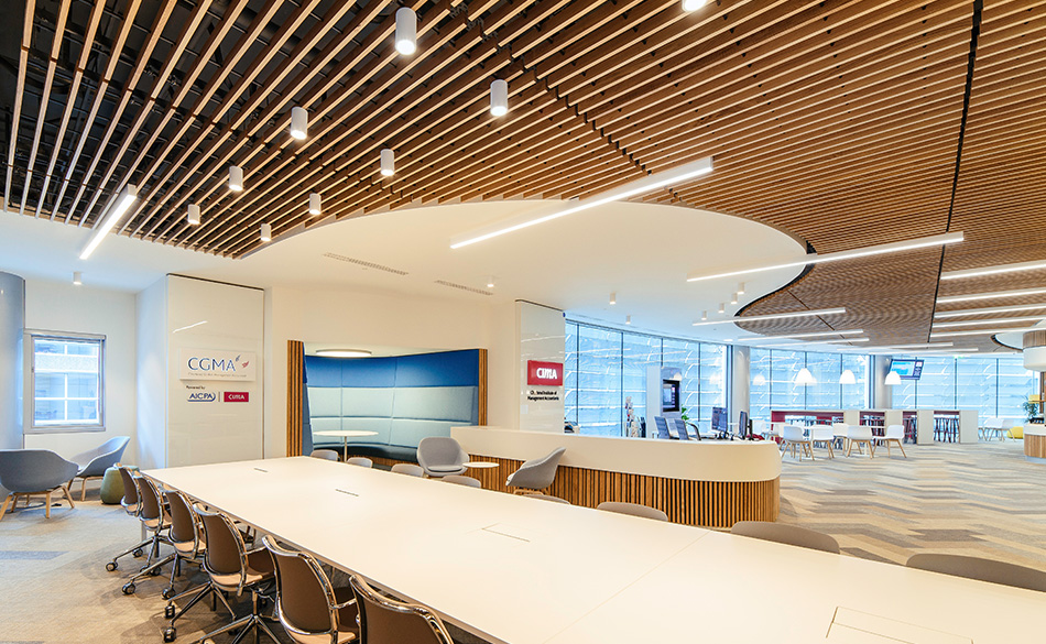 suspended timber acoustic ceiling